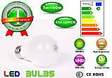 Світлодіодна Лампочка 5 ват 220 вольт е27 для будинку, фото 3
