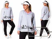 Повседневный женский спортивный костюм в больших размерах из двухнитки c-1515330