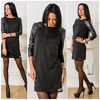 Прямое платье в расцветках с кожаными рукавами w-5031342
