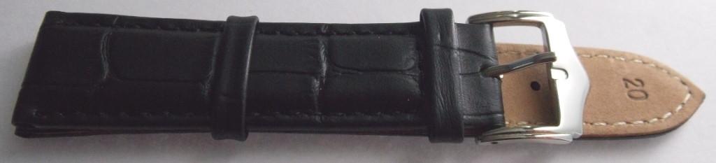 Ремешок кожаный Piel Vacuno (ИТАЛИЯ) анти аллерген черный 20 мм