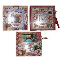 Блокнот детский А-6 Медвежонок на замке, в картонном футляре, с ленточкой, ассорти