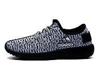 Кроссовки мужские Adidas Yeezy Boost, текстиль, бело-черные, фото 1