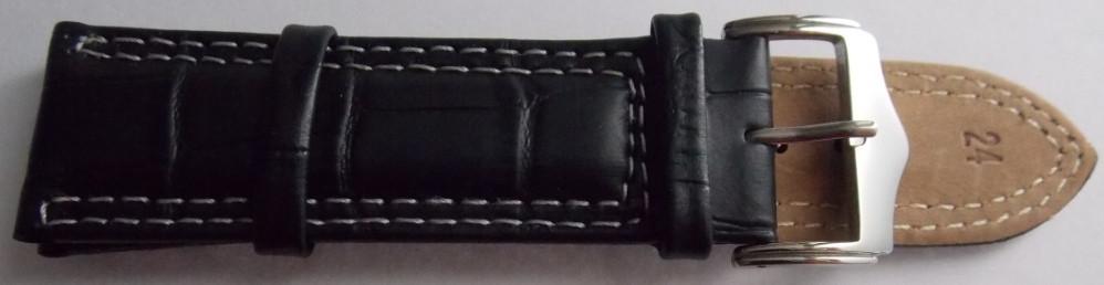 Ремешок кожаный Piel Vacuno (ИТАЛИЯ) анти аллерген черный бел.стр.24 мм