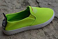 Женские мокасины слипоны Love яркие зеленые салатовые