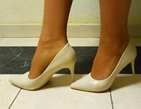 Бежевые туфли женские-лодочки Киев 8см