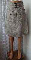 Юбка женская демисезонная офисная лен бренд Zara р.46 5898а