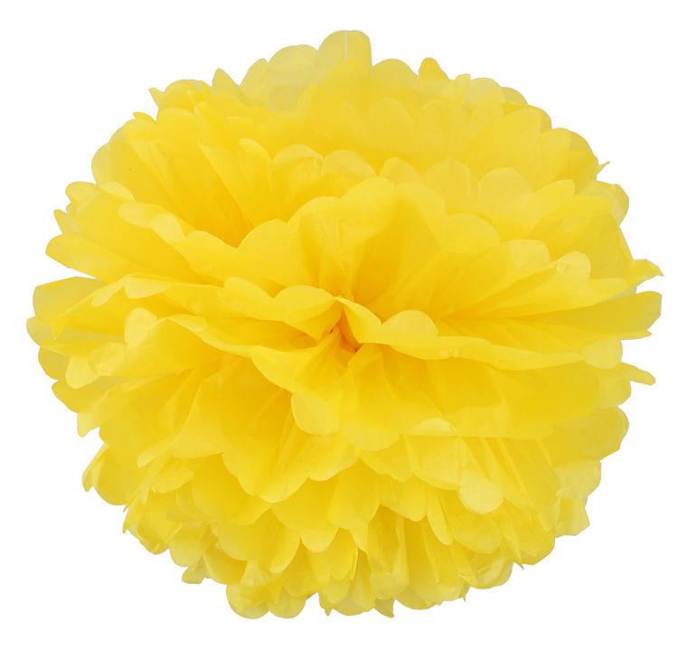 Помпон тишью желтый 25см