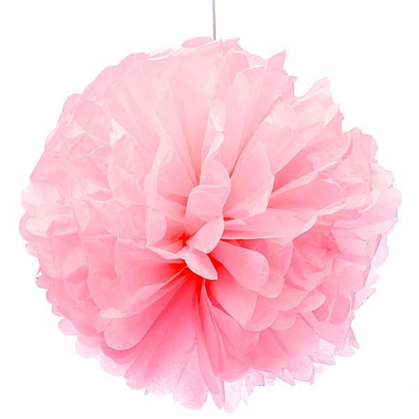 Помпон тишью розовый 25см
