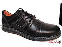 Мужские туфли кожаные на шнурках черные Bu0004