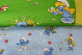 Детское постельное белье из сатина Смурфики