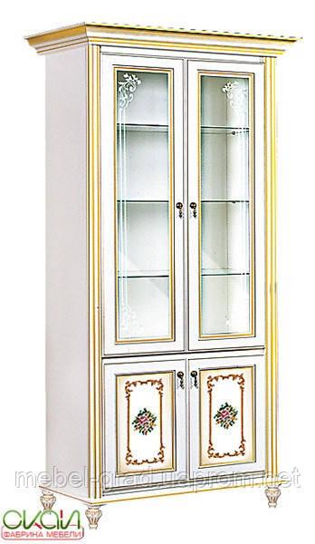 Витрина 2х дверная Верона Скай белый