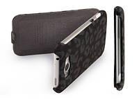Nuoku LEO stylish leather case for HTC Sensation XL G21, black