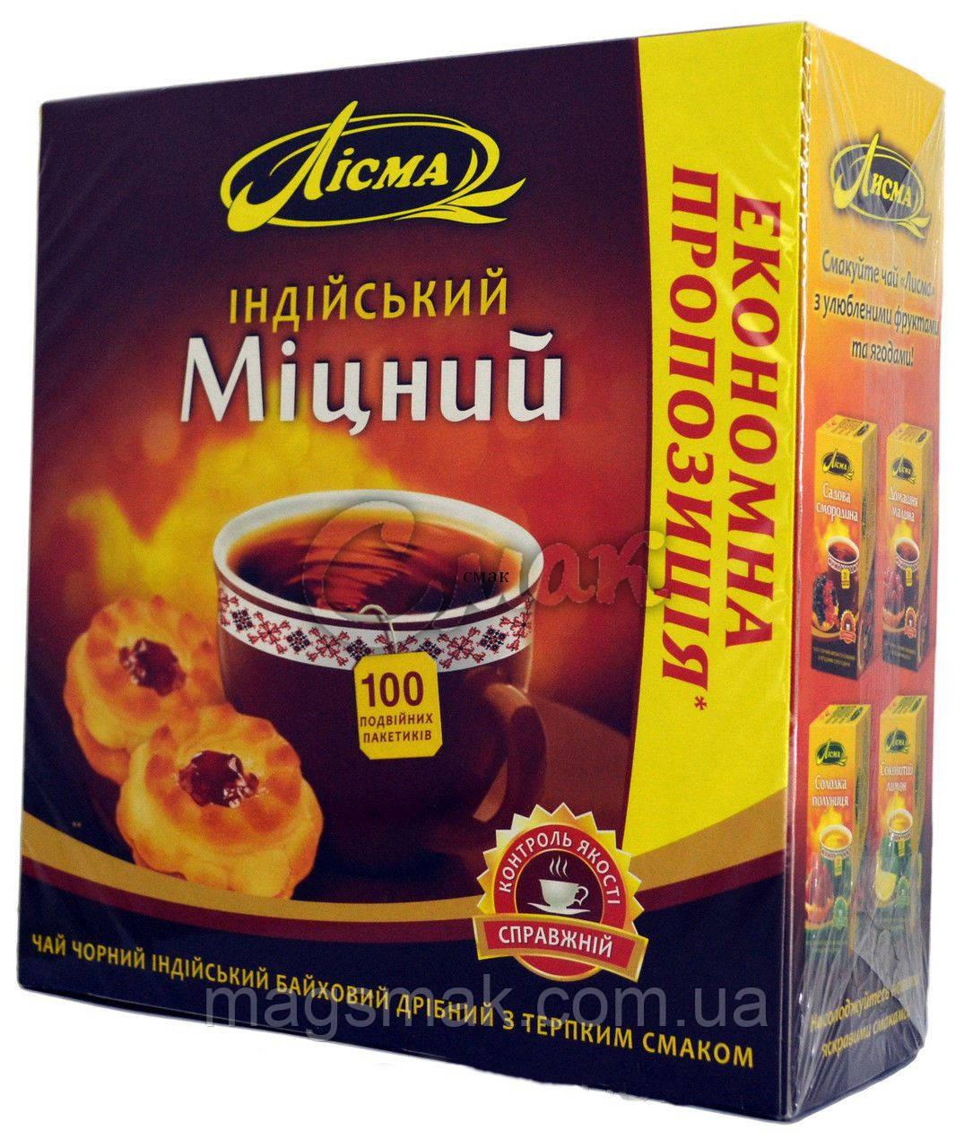 Чай черний Лисма Индийский Крепкий (Лісма Міцний) 100 пак.