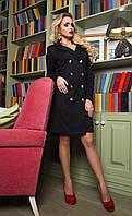 Шикарное платье из итальянской лакосты с имитацией двубортной застежки из пуговиц, 42-52 размер