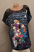 Футболка женская AMARCHIK с модным принтом Турция чёрная универсальная, фото 1