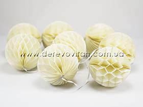 Гирлянда из шаров-сот, кремовая, d10 см