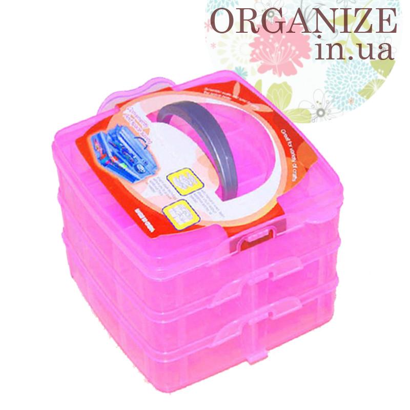 Пластиковый чемоданчик для рукоделия (три яруса) (розовый) РАСПРОДАЖА