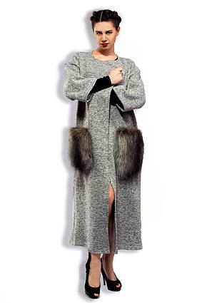 Стильное женское длинное пальто-кардиган 3-814-1