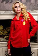 Классическая блуза рубашка на пуговицах из летней костюмки с ярким декором изображения фруктов, 42-52 размер