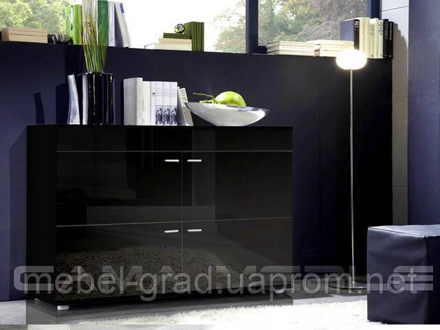 Комод Logo II Cama Meble черный / черный глянец