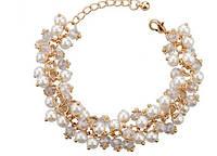 555бел - Женская бижутерия браслет с кристаллами