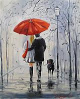 «Прогулка под дождем» картина маслом