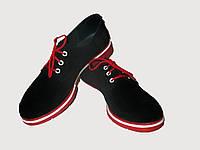 Черные женские туфли на шнурке из замши