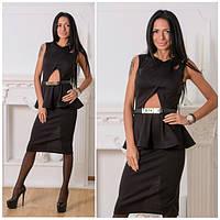 Красивое платье до колен с баской h-5031344