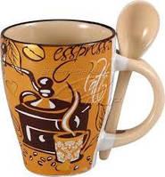 Кружка с ложкой 320мл Кофе-кофе WELLBERG WB 12214, фото 1