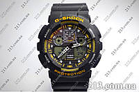 Водостойкие наручные часы Casio G-Shock Ga-100 Black Yellow черные