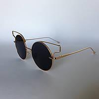 Женские солнцезащитные очки Kaizi 1801 с 61 черные с золотой оправой