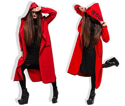 Стильное женское кашемировое пальто-кардиган до больших размеров 5-842