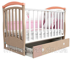 Ліжечко для новонароджених Соня ЛД 6 з маятником і ящиком Верес капучіно /рожевий