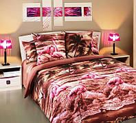 """Комплект 2-спальный с Евро-простынёй 3D-коллекции """"Фламинго"""". Ивановский Перкаль. Хлопок 100%."""