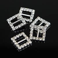 Металлическая пряжка для ленты с камнями, квадрат - 1шт