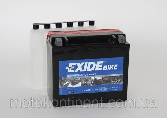 Аккумулятор для мотоцикла сухозаряженный AGM 18Ah 270A EXIDE ETX20HL-BS = YTX20HL-BS  175x87x155, фото 2