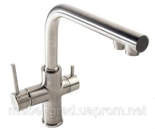 Смеситель для кухонной мойки Imprese Daicy с подключением питьевой воды (сатин) 55009S-F