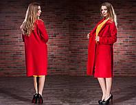 """Элегантное женское пальто средней длины до больших размеров 5-835 """"Кашемир Букле"""" в расцветках"""