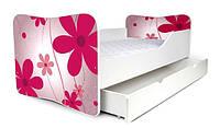 Кровать с ящиком для белья 180х80 цветы розовые Nobiko