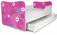 Кровать с ящиком для белья 180х80 цветы малиновые Nobiko
