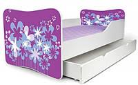 Кровать с ящиком для белья 180х80 цветы фиолетовые Nobiko