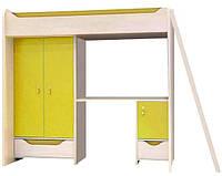 Двухъярусная кровать с матрасом ZES 3D2S Хихот / Hihot BRW дуб belluno/зеленый