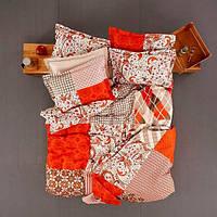 Постельное белье Полуторное Ранфорс VERA оранжевый Karaca Home