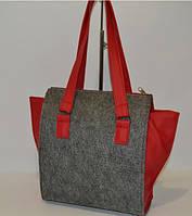 """Женская сумка """"Войлок"""" серая с красным"""