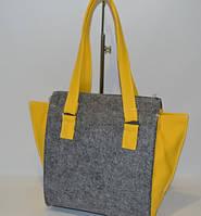 """Женская сумка """"Войлок"""" серая с желтым"""