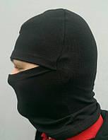 Шапка-маска Балаклава лайкра-х/б (черная)