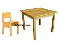 Детский стол + растущий стул сосна (70*70), фото 1