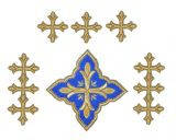 Набор вышитых диаконских крестов, синие с золотом