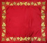 Илитон вышитый золотом, ткань королевский атлас №01
