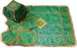 Литургический комплект  зеленый, парча подсолнух